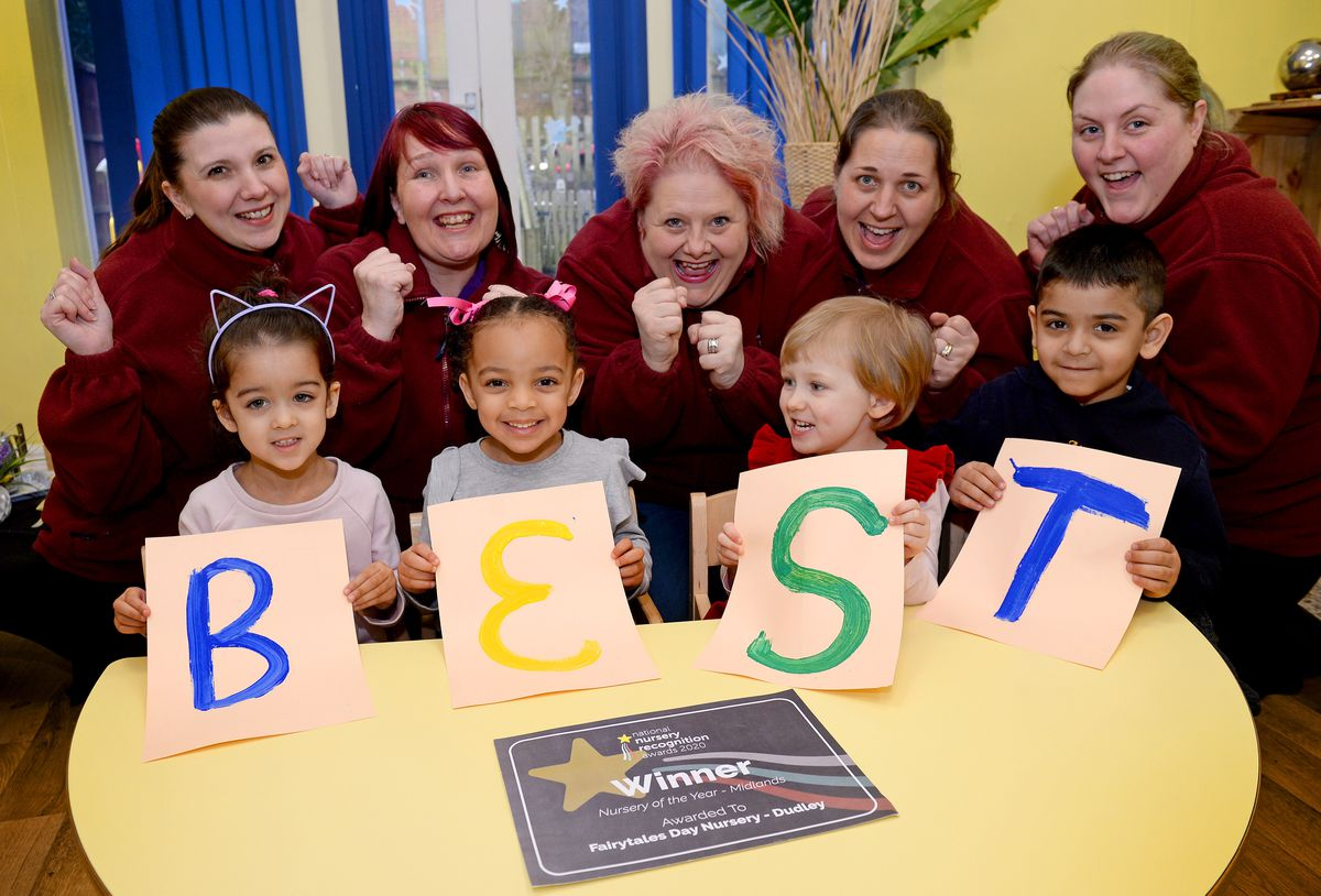 DUDLEY COPYRIGHT EXPRESS&STAR TIM THURSFIELD 29/01/20.Fairytales Nursery, Dudley, has been named the Nursery of the Year for the Midlands in the National Nursery Recognition Awards..Pictured are management team members Laura Patel, Lisa Vickers, Debbie Latewood, Sarah Counsell and Sarah Hartill, celebrating with some of the children..