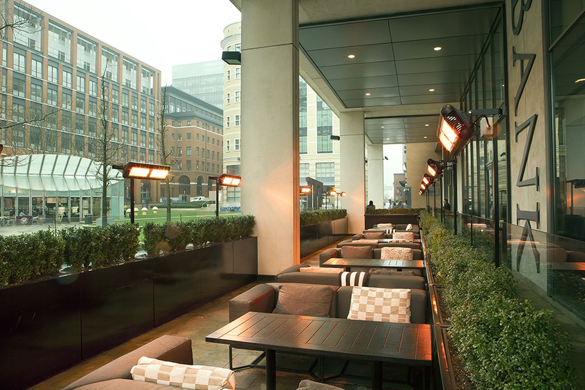 Tansun's Sorrento infrared heaters at Bank Restaurant. This year marks the 35th anniversary of the company, which is now a leader in the field of radiant heating, helping bars and restaurants to heat outside areas for alfresco dining and also heating buildings such as factories, warehouses, gymnasiums and aircraft hangars.