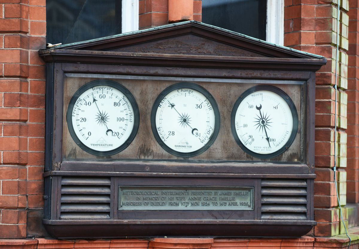 The meteorological instruments outside Dudley Museum and Art Gallery are a familiar sight