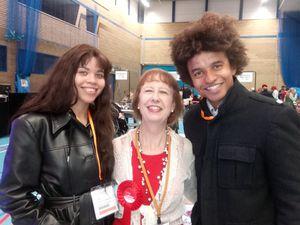 Winning candidate Barbara McGarrity with son Blue Peter presenter Radzi Chinyanganya and daughter Rufaro