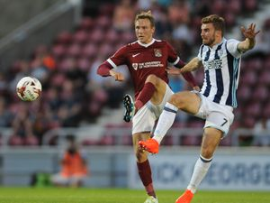 """West Brom's James Morrison (right) and Northampton's Matthew Taylor during the EFL Cup, Second Round match at the Sixfields Stadium, Northampton. PRESS ASSOCIATION Photo. Picture date: Tuesday August 23, 2016. See PA story SOCCER Northampton. Photo credit should read: Rui Vieira/PA Wire. RESTRICTIONS: EDITORIAL USE ONLY No use with unauthorised audio, video, data, fixture lists, club/league logos or """"live"""" services. Online in-match use limited to 75 images, no video emulation. No use in betting, games or single club/league/player publications.."""