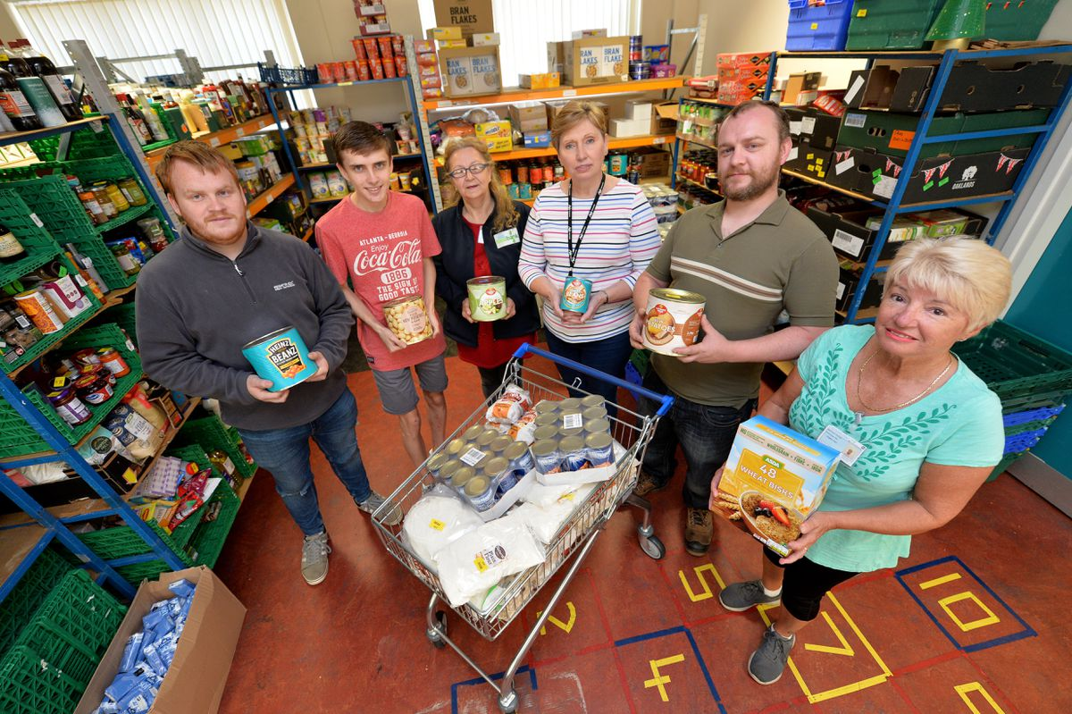 Cannock and District Food Bank. From left to right: Adam Tilsley, Luke Pilsbury, Victoria Pinter, Sue Harrell, Daniel Regan and Angie Hart