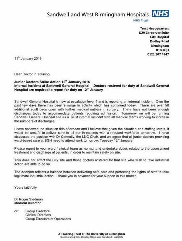 watch  sandwell hospital orders striking junior doctors to