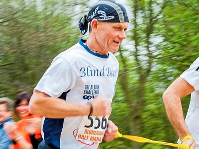 Blind Dave Heeley: Sandwell fundraising hero completes Birmingham Marathon in the latest leg of his gruelling challenge