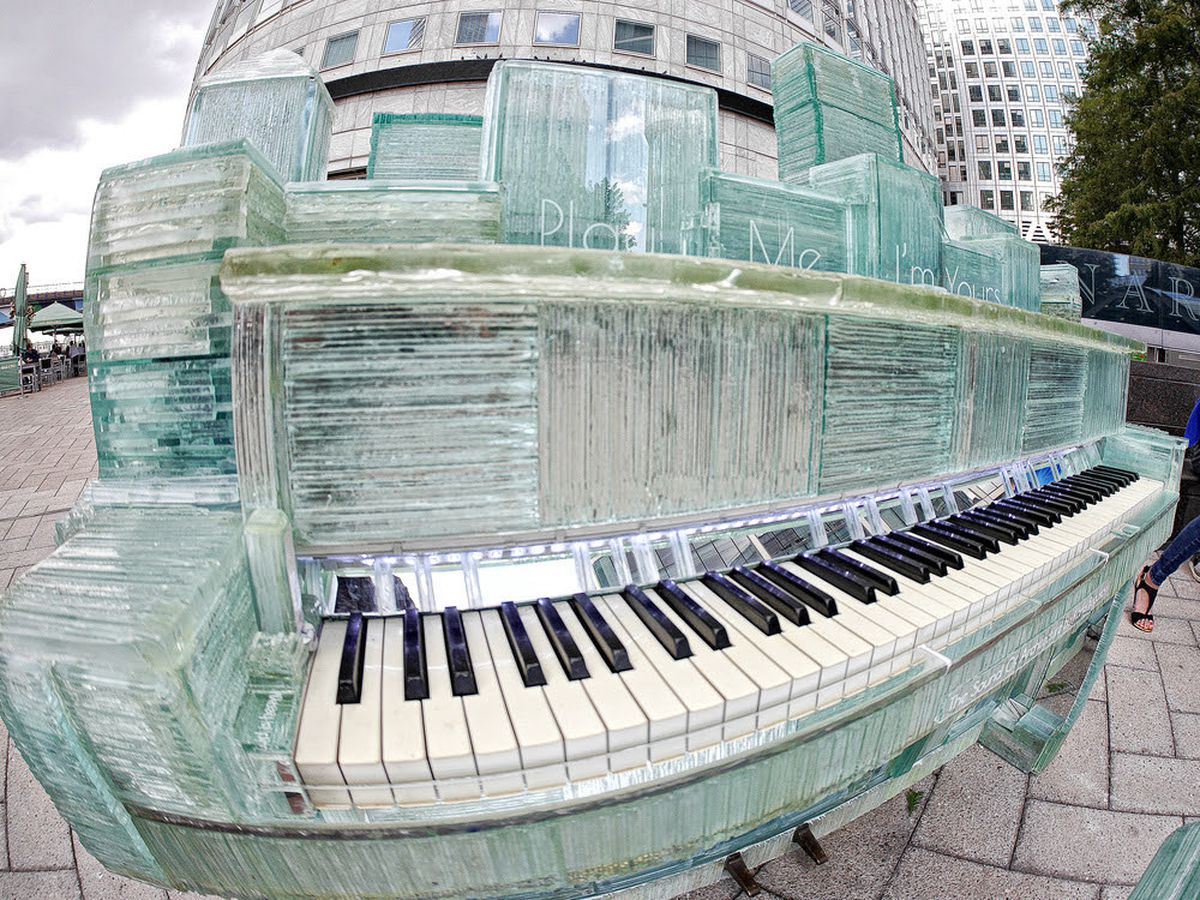 The one-of-a-king glass piano took four months to build