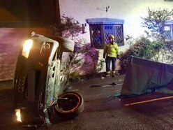 Car overturns in Wolverhampton road