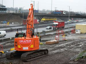 Work continues at Junction 10 of the M6, at Walsall