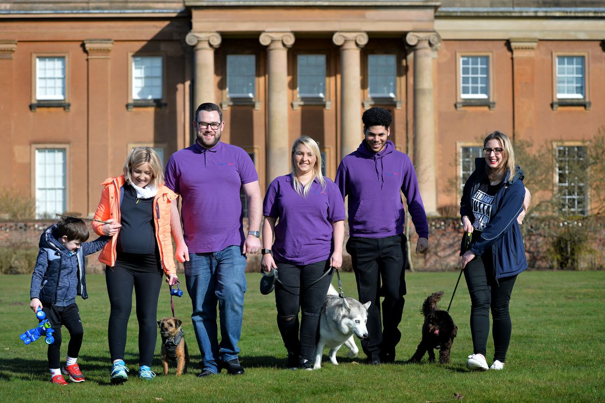 Getting ready for the Compton Hospice tail waggers event at Himley Hall in April. Dawn Smith with Bella, Mike Dixon, Rebecca Worrallo with Skye, and Charlotte Lilley with Daisy. Pic: Tim Sturgess