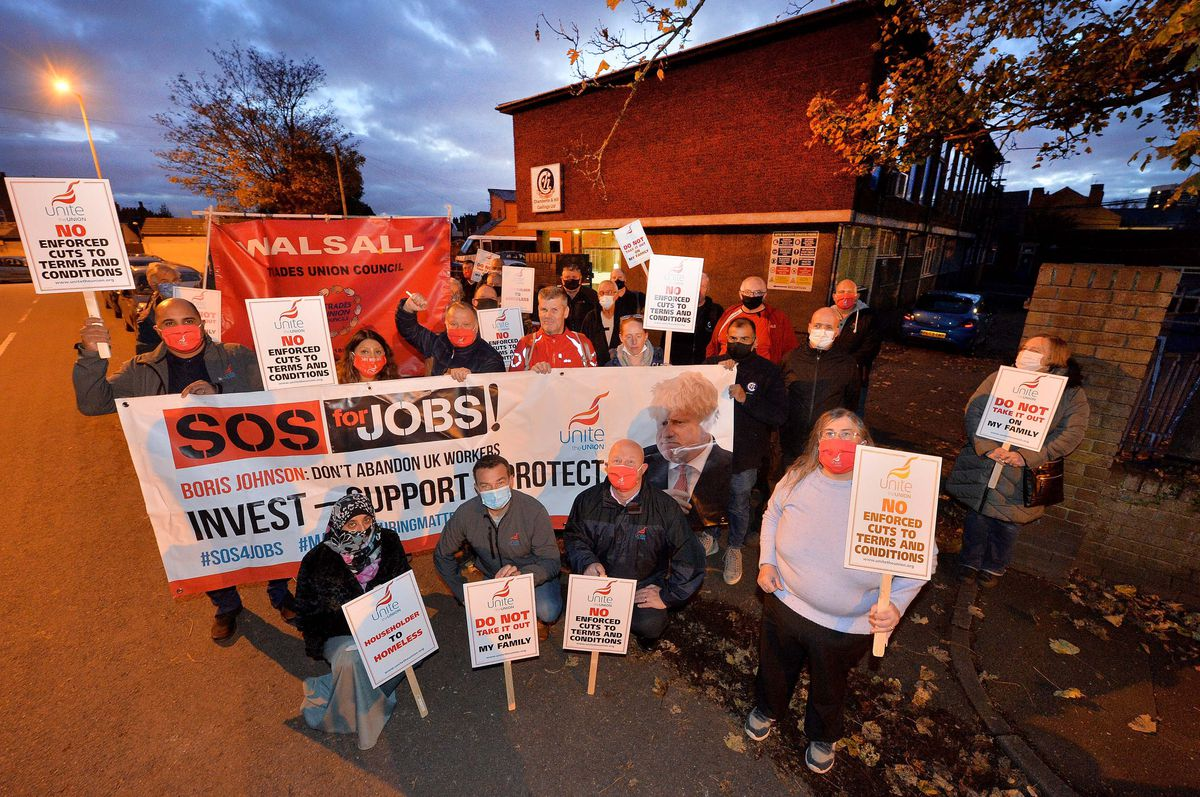 Staff protesting outside Chamberlin & Hill in Walsall