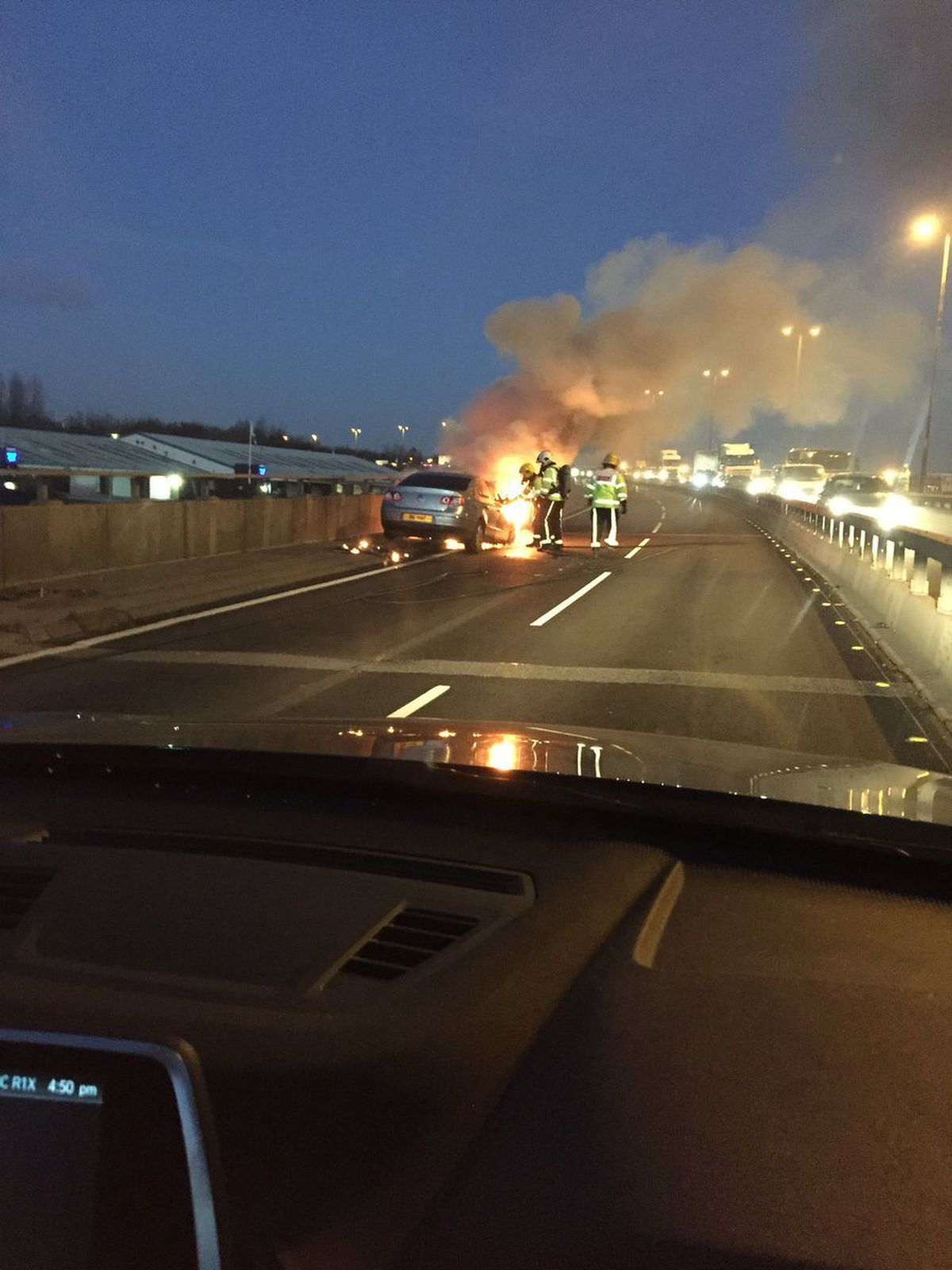 The car fire. Credit: @WoodyFC13