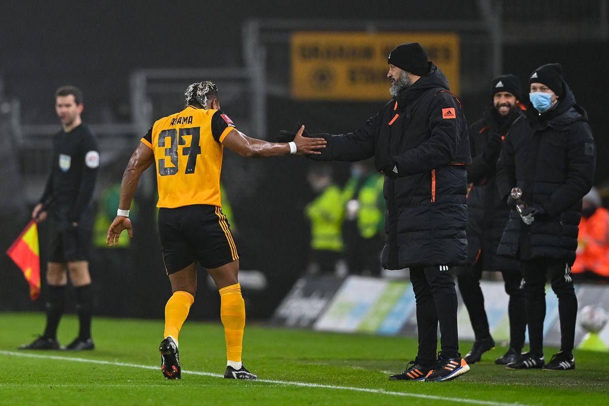 Adama Traore of Wolverhampton Wanderers celebrates with Nuno Espirito Santo the head coach / manager of Wolverhampton Wanderers after scoring a goal to make it 1-0 (AMA)