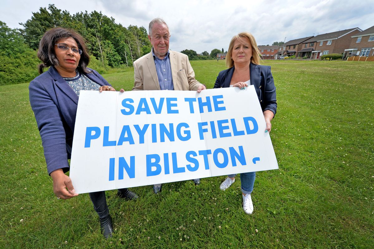 Councillors are opposing plans to build houses on green belt land in Bilston. Pictured are councillors Olivia Birch, Phil Page and Linda Leach