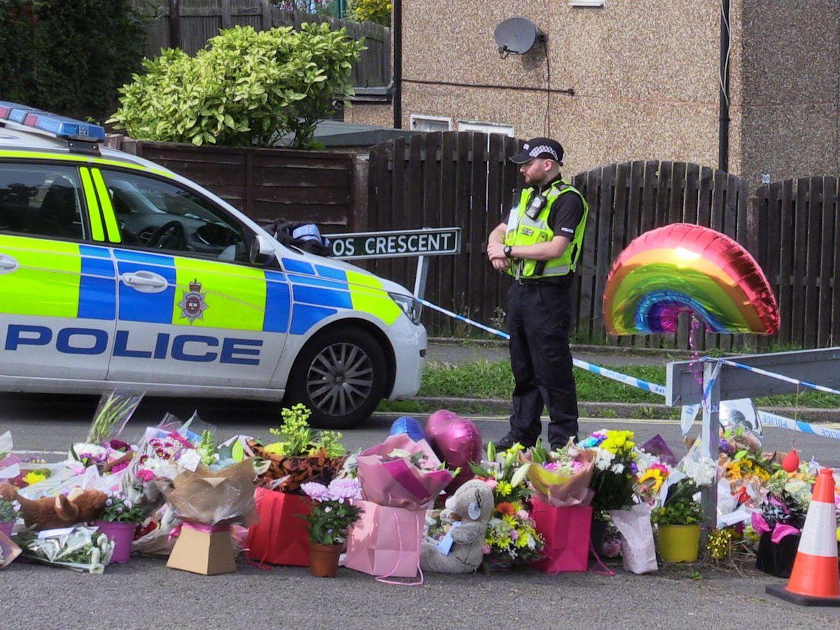 Flowers near to the scene in Chandos Crescent, Killamarsh, near Sheffield