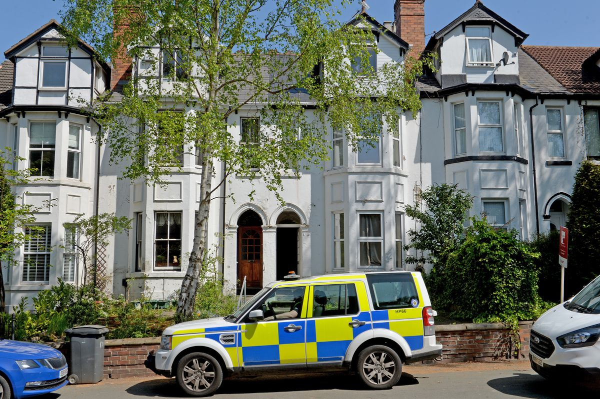 Police outside flats on Tettenhall Road on Wednesday afternoon