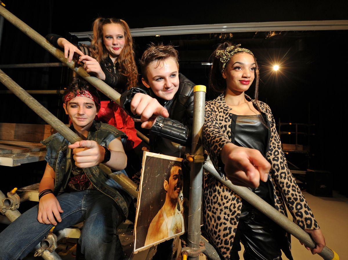 Ready to star in 'We Will Rock You', pupils (left-right) Jack Davies, Esme Hallard, Alfie Hardwick (playing Galileo). and Daniella Feriancova, at Wodensborough Ormiston Academy, Wednesbury