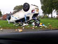 Car overturns in crash on Stourbridge ring road