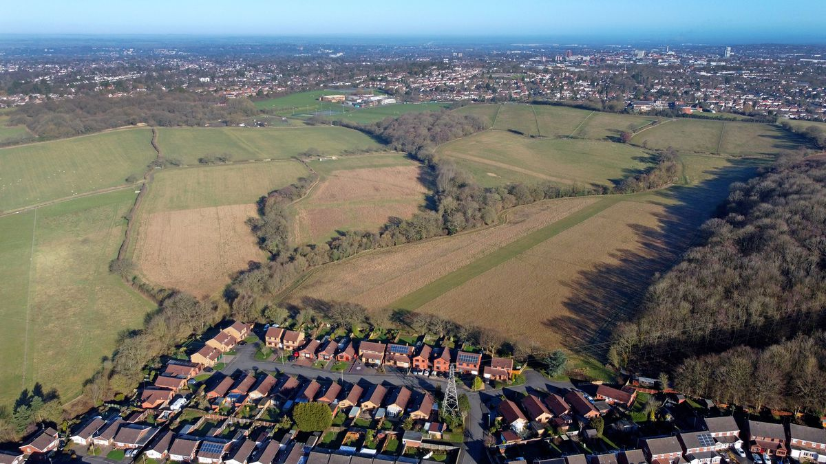 An aerial image of the Seven Cornfields site