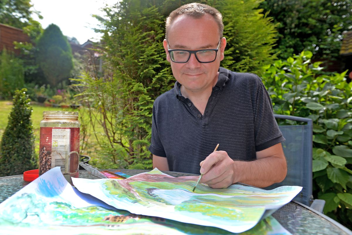 Mark Andrews relaxes with a spot of watercolour painting