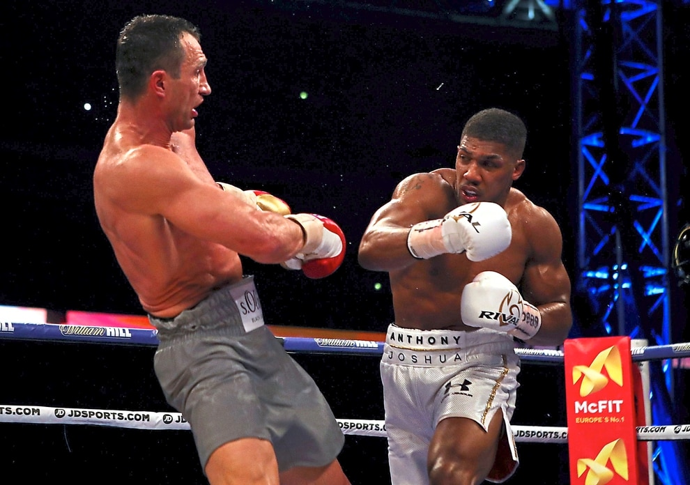 eea6ce6f950 Anthony Joshua (right) in action against Wladimir Klitschko during their  IBF