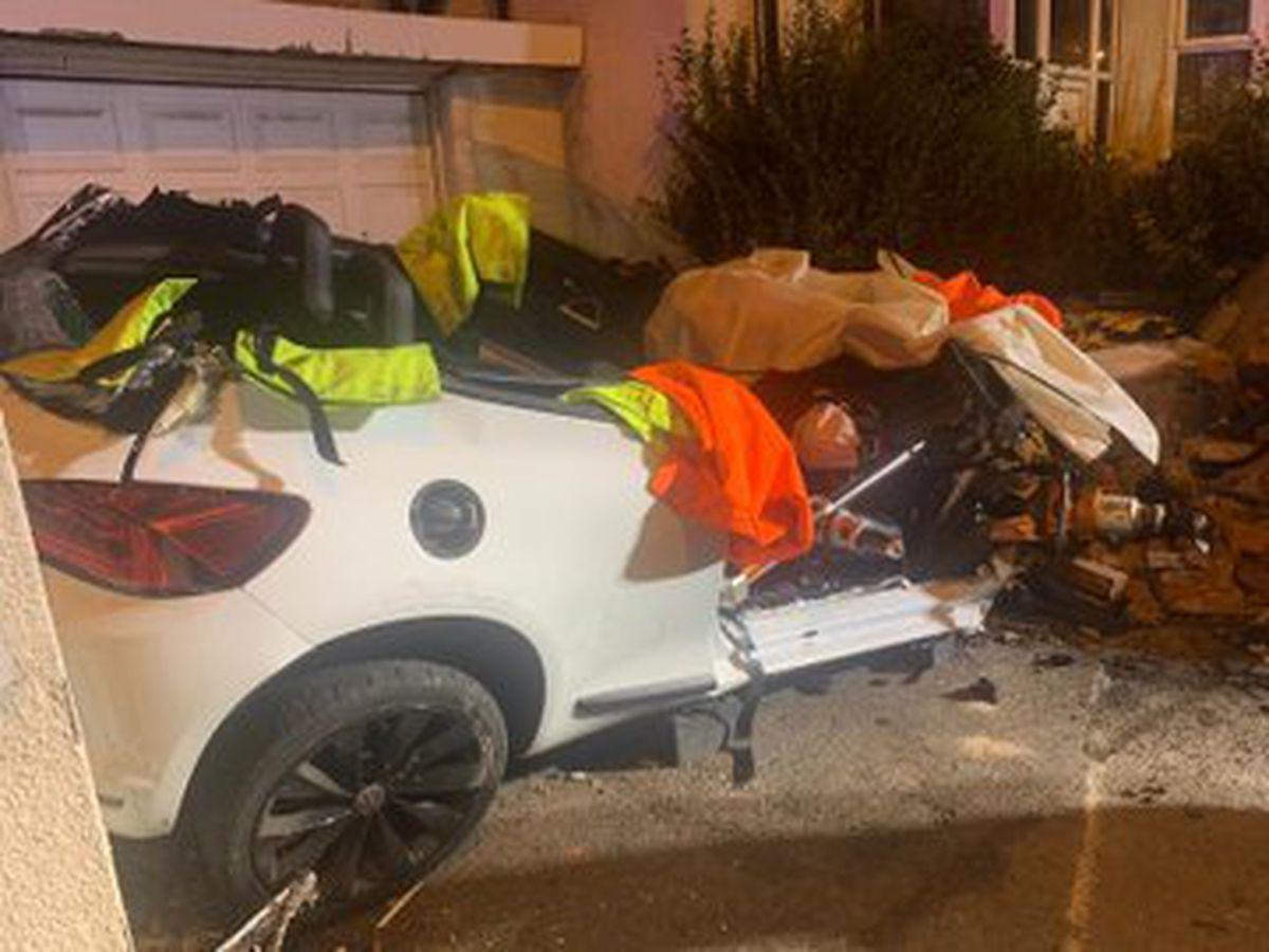 The car had crashed into a brick in Wellington Road, in Bilston. Photo: Bilston Fire