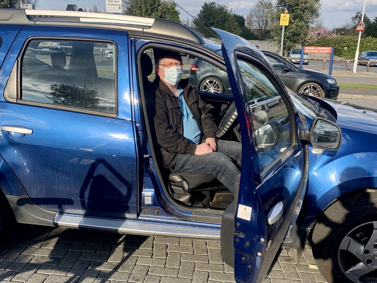 Gary Hicken waiting for an ambulance while in the A&E car park