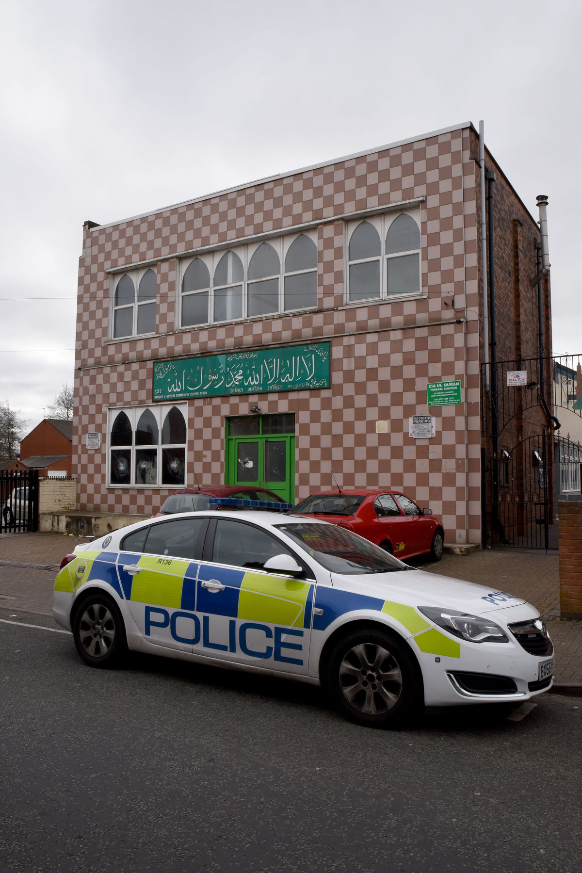 One of the mosques smashed - in Aston, Birmingham. Picture by Caters News