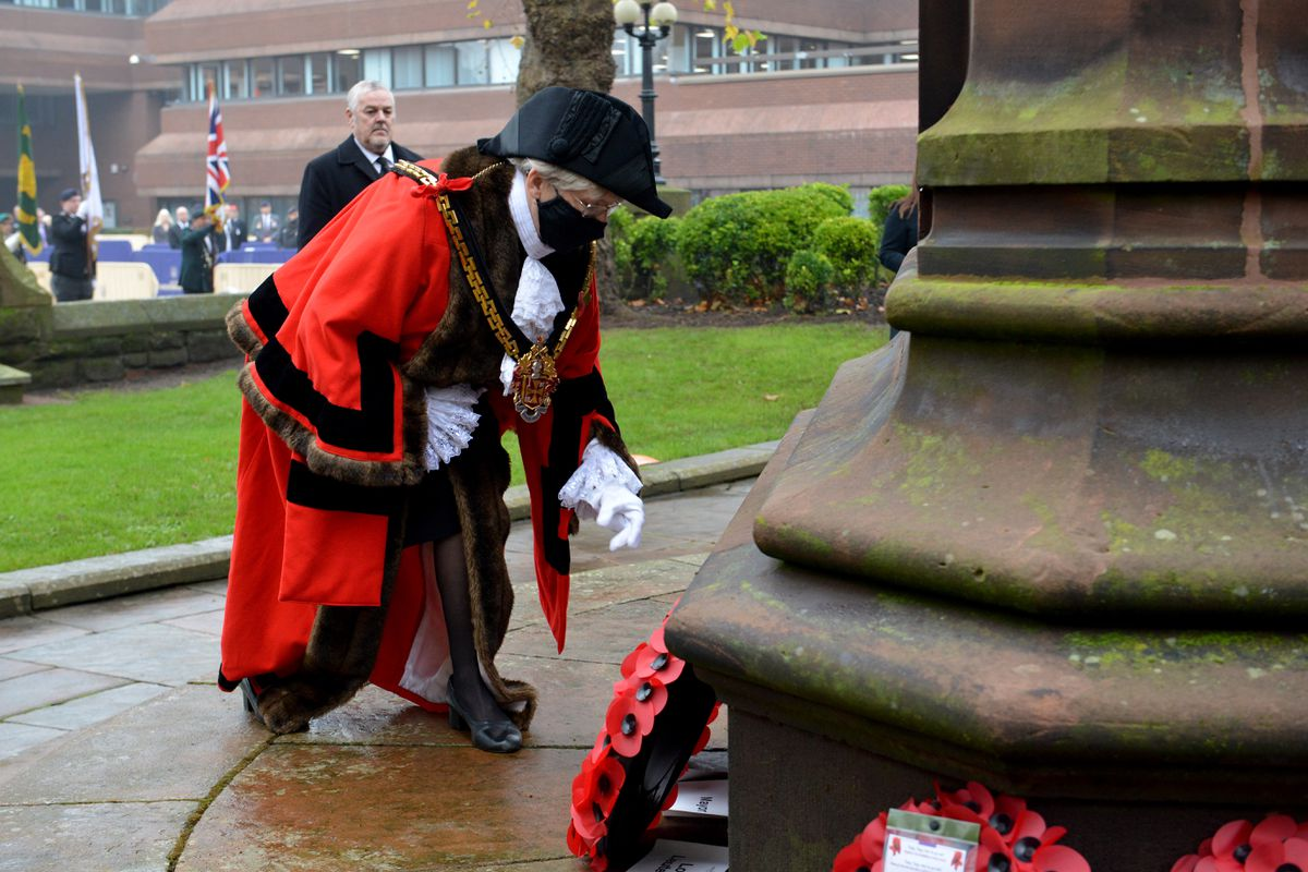 Wolverhampton's Remembrance service at the Cenotaph in St Peter's Square