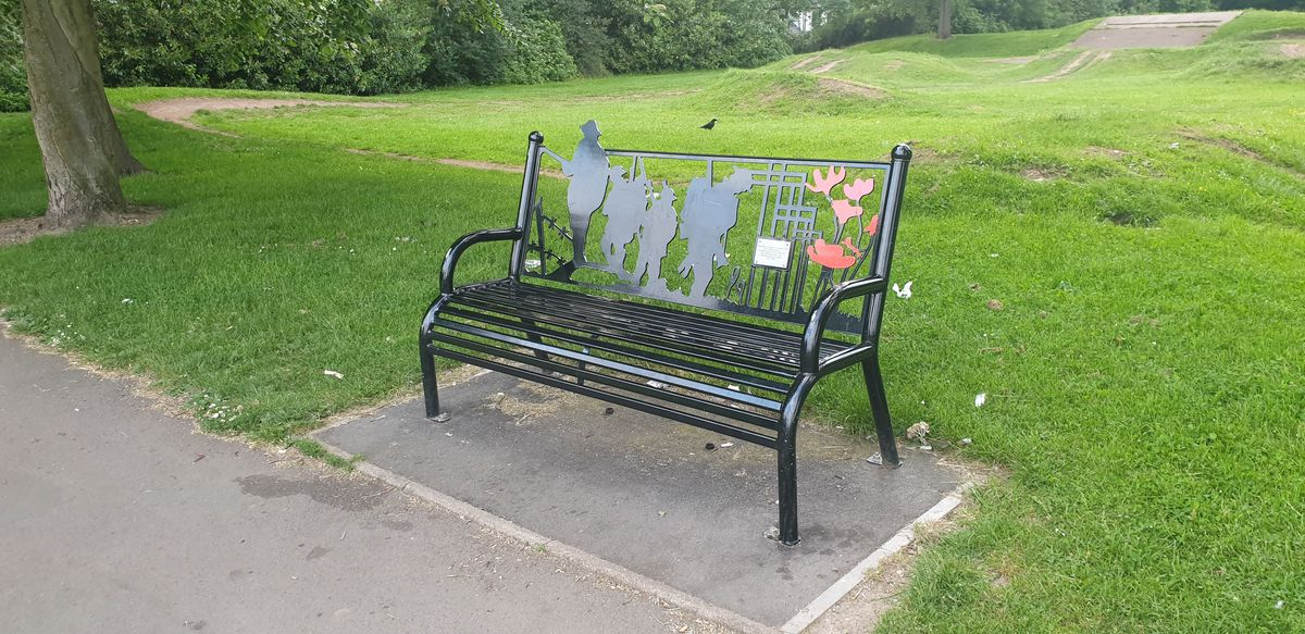 The vandalised bench in Ashmore Park, Wednesfield. Photo: Sophie Perry, Wolverhampton College NCTJ student