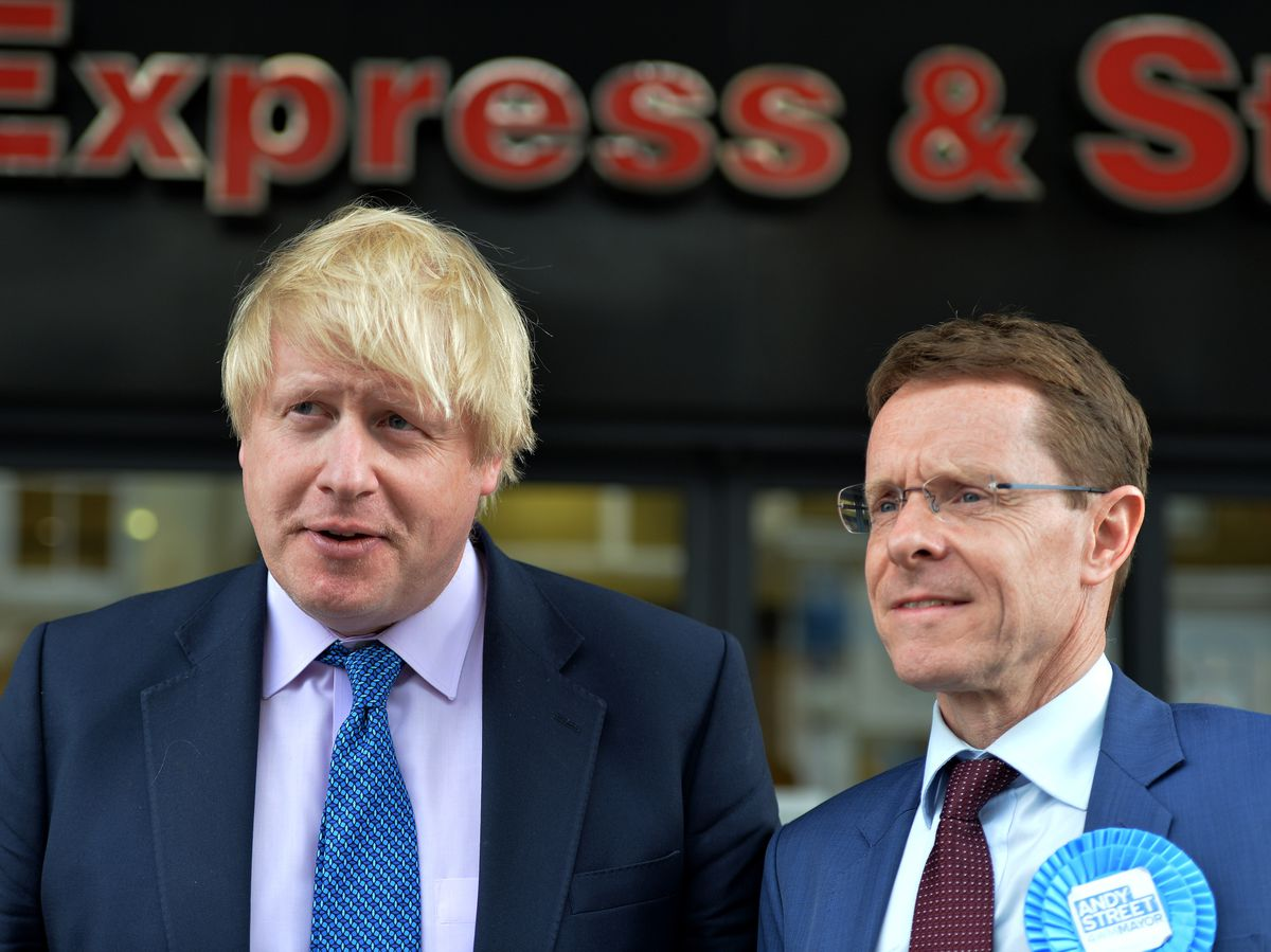 Boris Johnson with West Midlands Mayor Andy Street at the Express & Star's headquarters in Wolverhampton