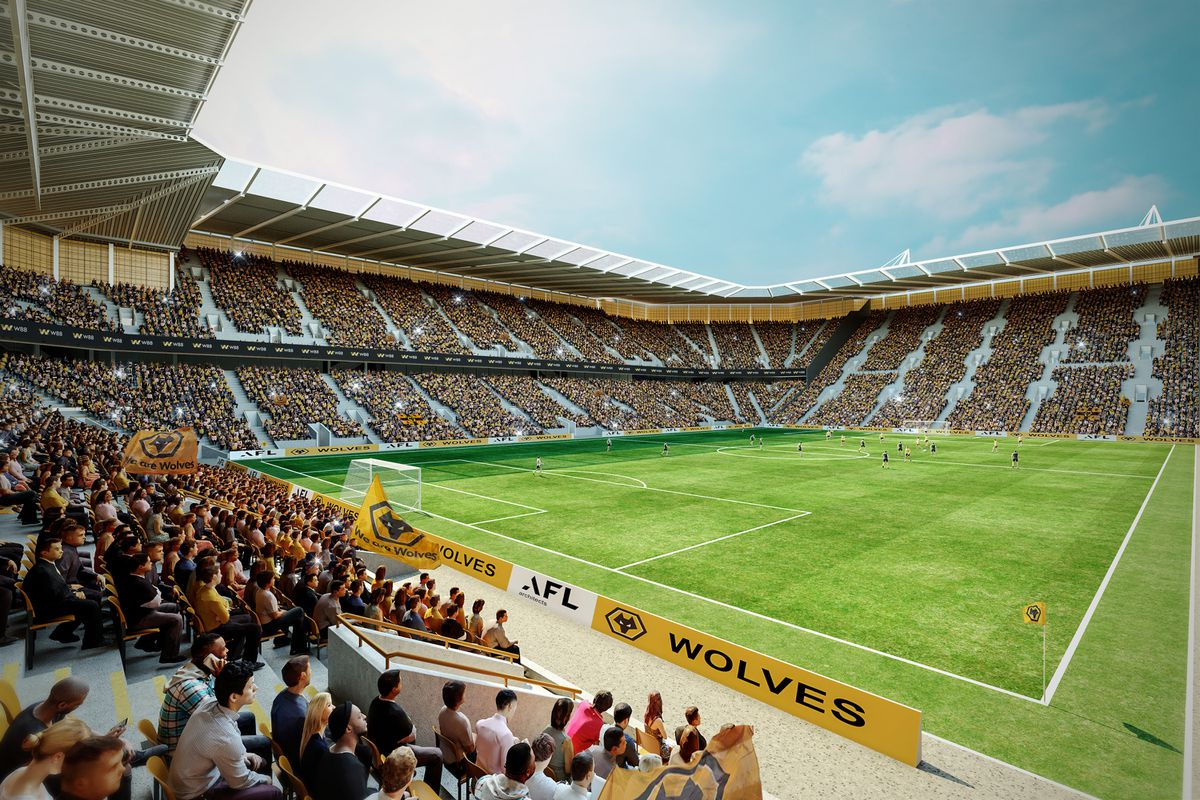 An interior shot of how Molineux could look with a huge single-tier South Bank (pic courtesy of Wolves)
