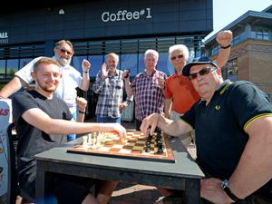 Kidderminster Chess Club members Joe Friar and John French (front) with Dave Close, Terry Pountney, John Whitehead and Maurice Bissell celebrating the 176th anniversary