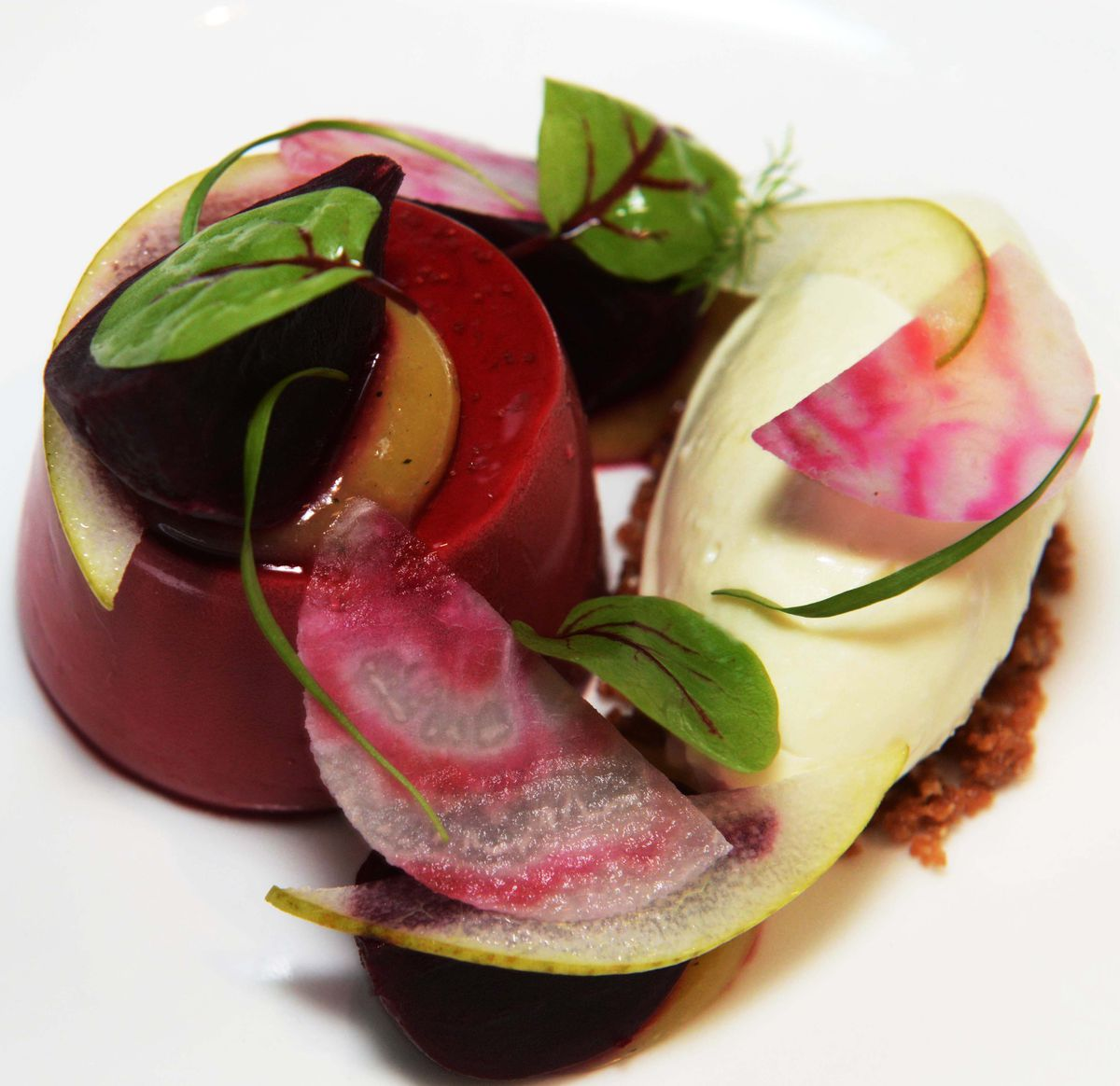 Beetroot panna cotta served with goat's cheese