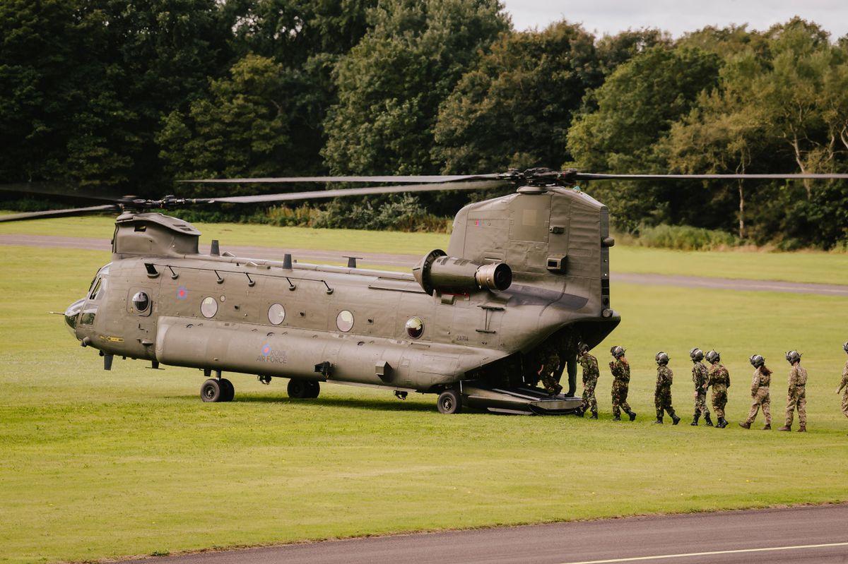 Air cadets go aboard an RAF Chinook