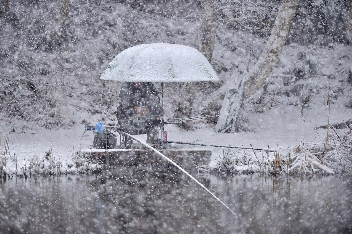 Fishing in the snow in Hednesford