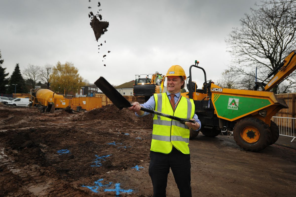 Trust chief executive Toby Lewis marks the start of construction work
