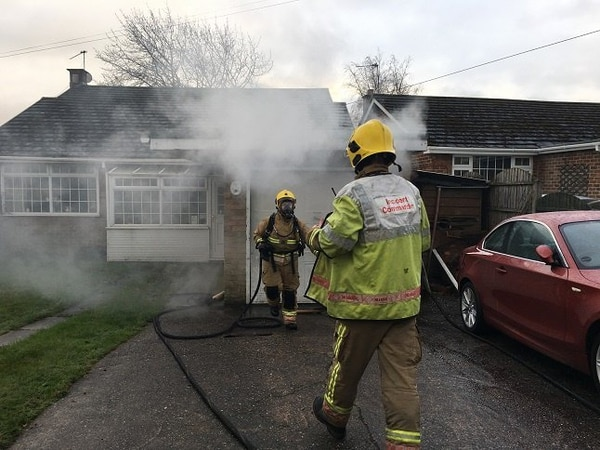Firefighters tackle garage blaze in Burntwood