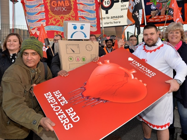 'Our members don't get much love': Union workers in Valentine's protest at Amazon Rugeley