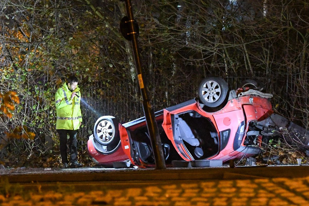 The aftermath of the crash in Midland Road, Darlaston. Photo: SnapperSK