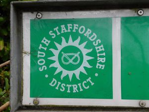 The South Staffordshire District logo on a street sign. Photo: LDR Kerry Ashdown
