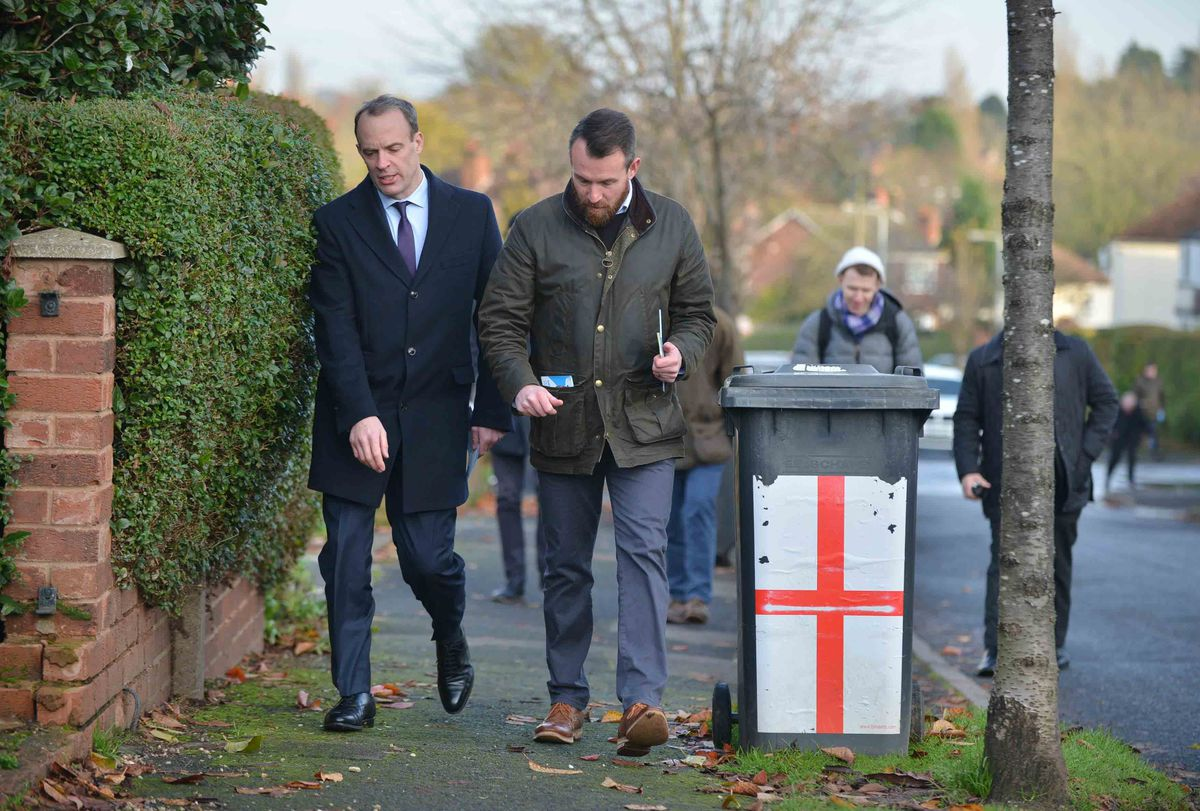 Mr Anderson, right, on the campaign trail with Foreign Secretary Dominic Raab