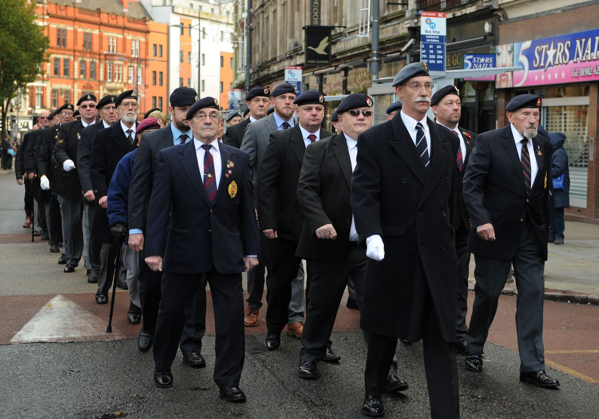 Veterans march during the Remembrance Day parade, at Lichfield Street, Wolverhampton