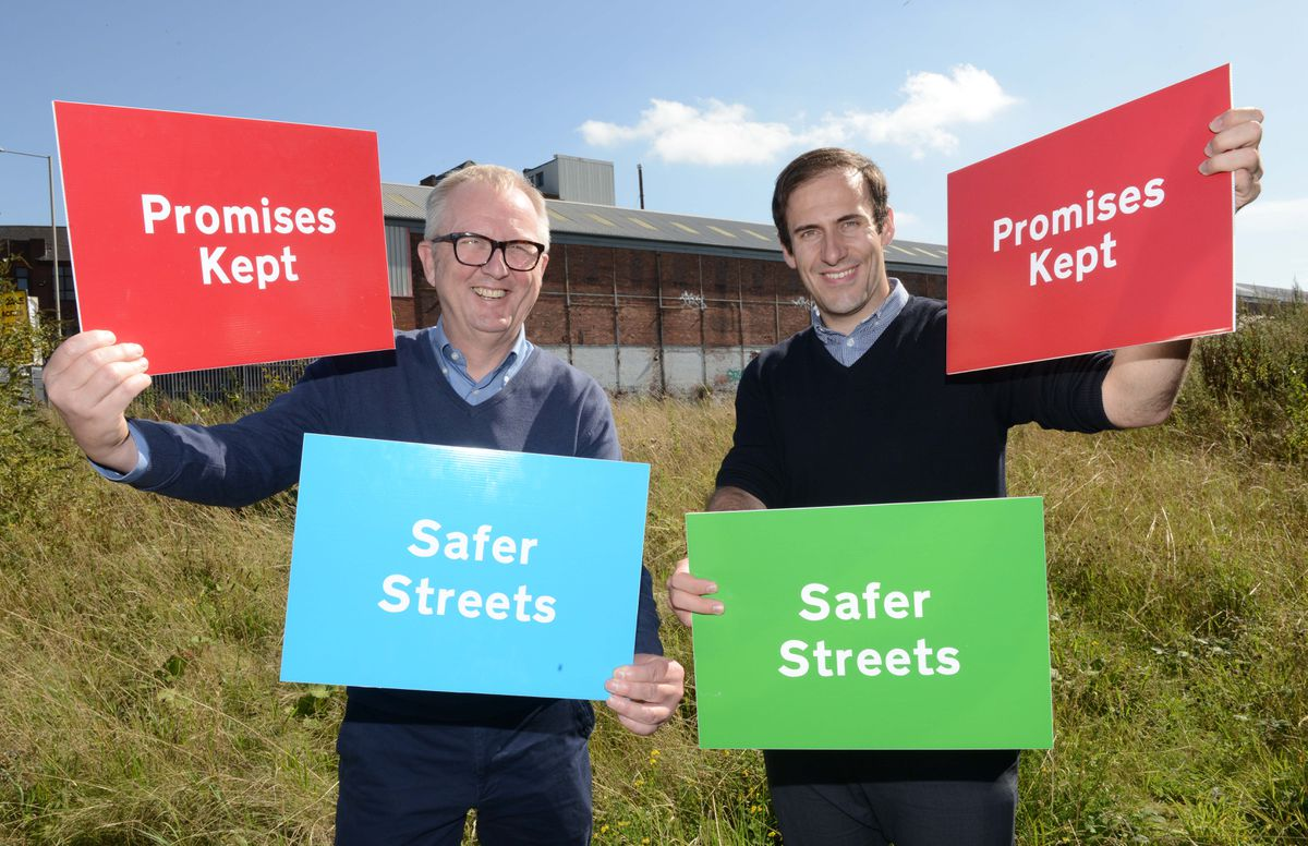 Then-Dudley North MP Ian Austin and Councillor Kieran Casey on the site of the proposed new police station in Hall Street in 2019