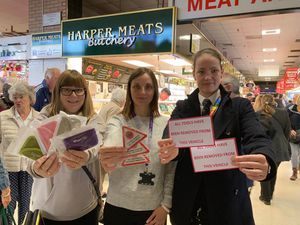 Meeting customers at Bilston Indoor Market were Community Safety Team representatives Ruth Worsey, Laura Wallace and Janette Huntbach.