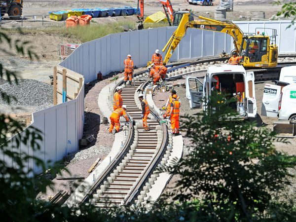 Work continues on the tram line off Castle Hill in Dudley