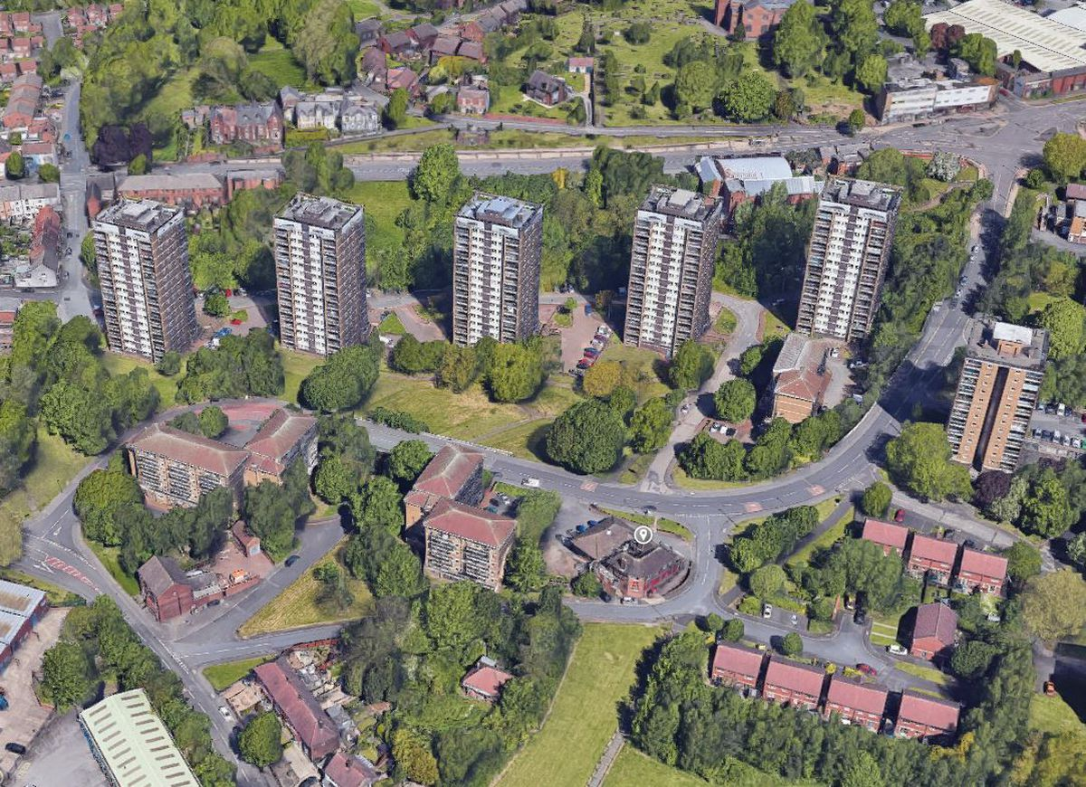 An aerial view showing the high-rise flats behind McColl's. Photo: Google