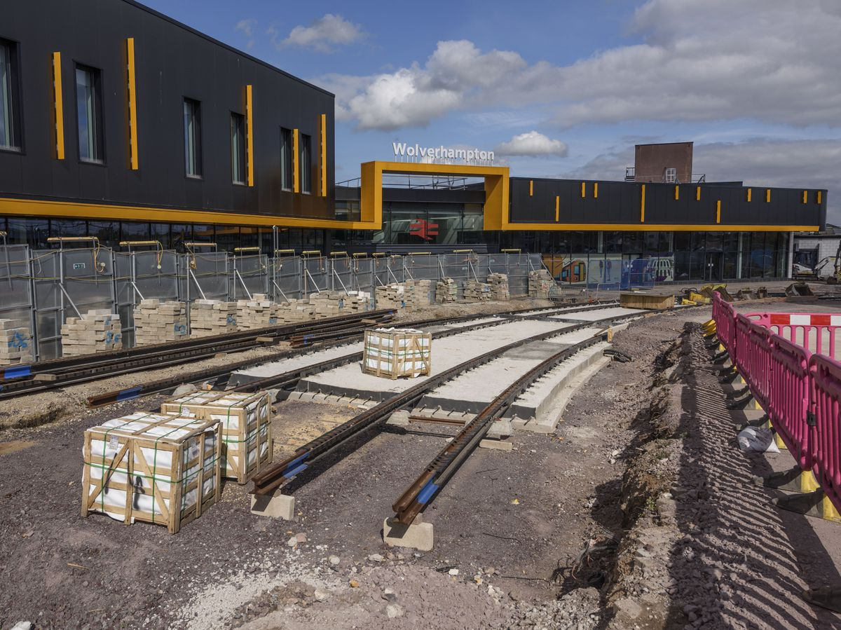The track installed outside Wolverhampton's railway station