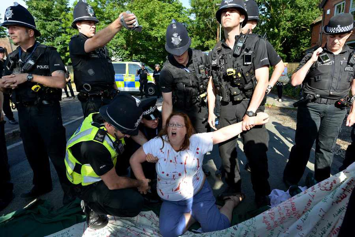 PICTURES & VIDEO: 19 arrested as anti-war campaigners return to Staffordshire 'drone' factory