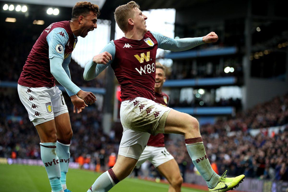 Aston Villa's Matt Targett celebrates