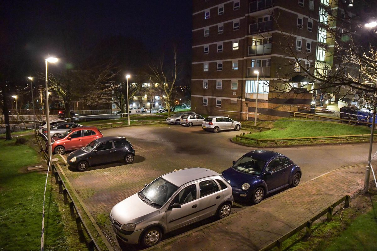 The car park outside the flats was cordoned off. Photo: SnapperSK
