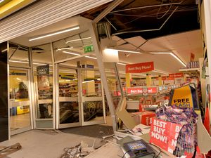 The aftermath of the ram raid at Heron Foods in Castle Street, Roseville